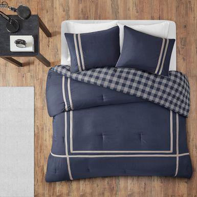 Kids Classic Checks Navy 2 Pc Twin XL Comforter Set