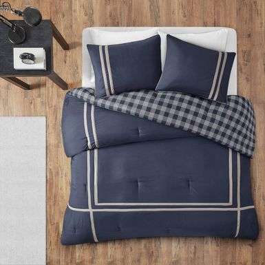 Kids Classic Checks Navy 3 Pc Full/Queen Comforter Set