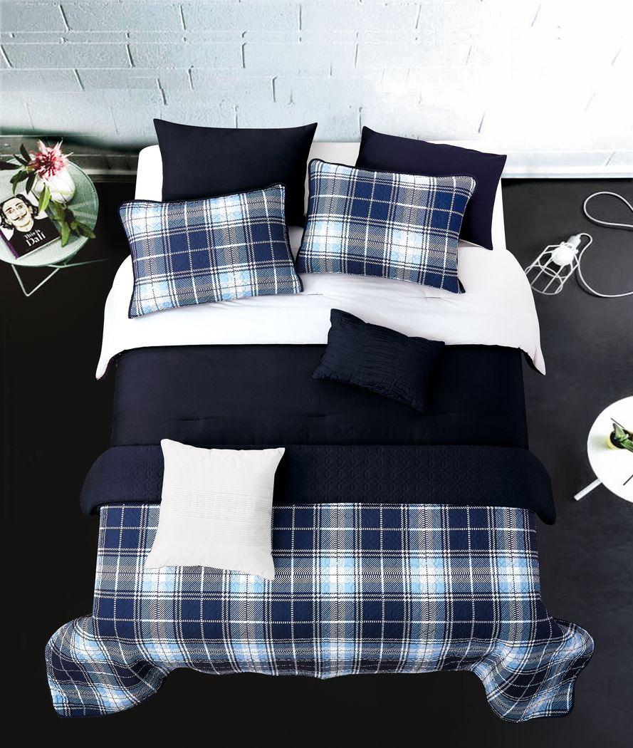 Kids Classic Plaid Navy 6 Pc Twin Comforter Set