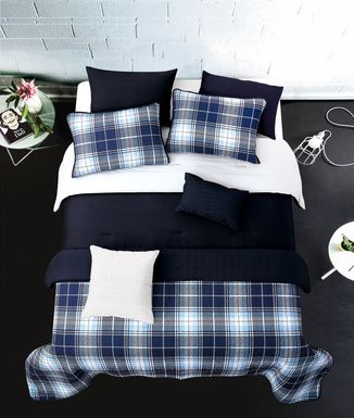 Kids Classic Plaid Navy 8 Pc Full/Queen Comforter Set
