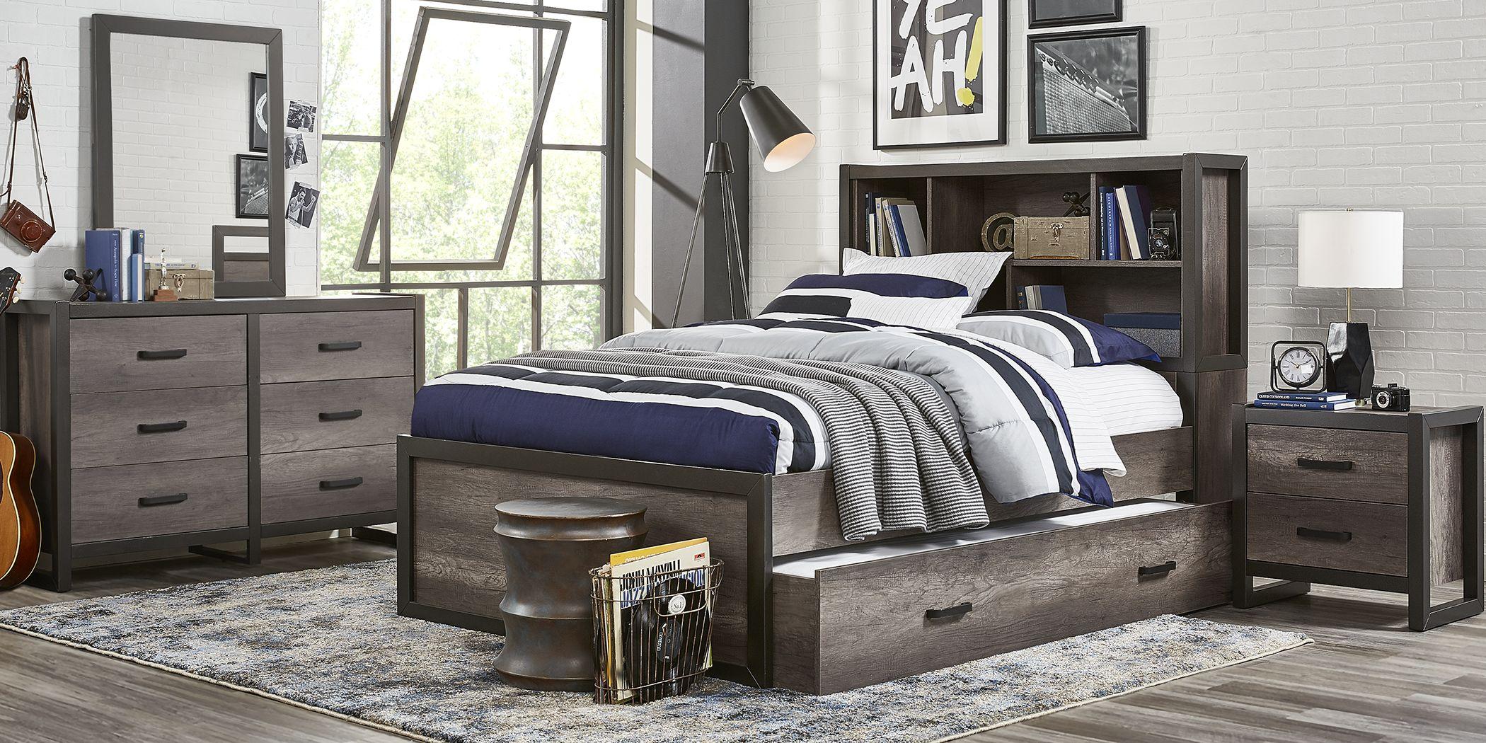 Kids Colefax Avenue Gray 5 Pc Twin Bookcase Bedroom
