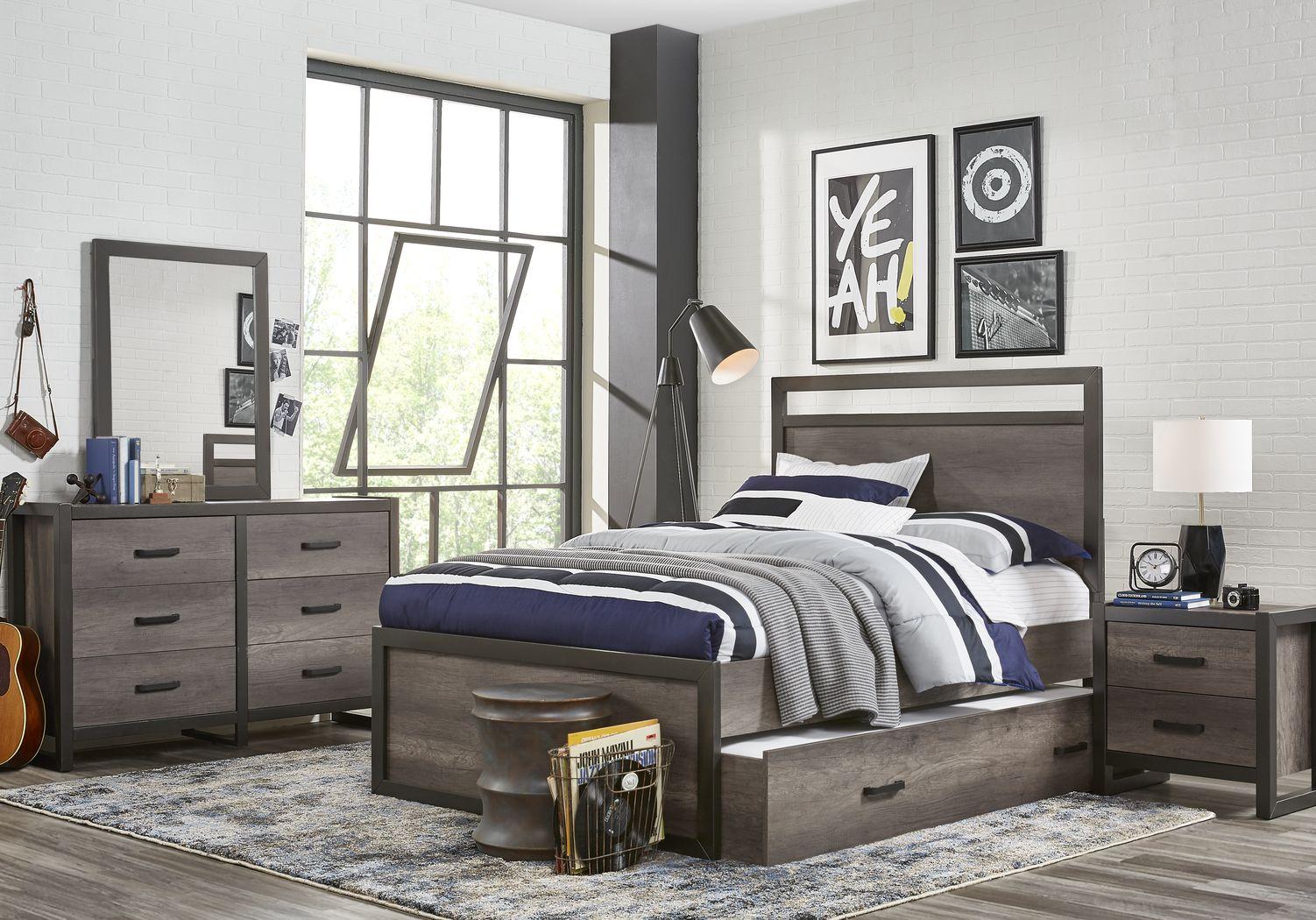 Kids Colefax Avenue Gray 5 Pc Twin Panel Bedroom