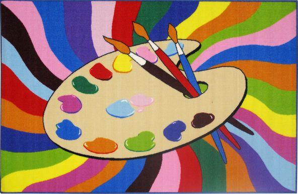 Kids Color Rays Cream 4'2 x 6'5 Rug