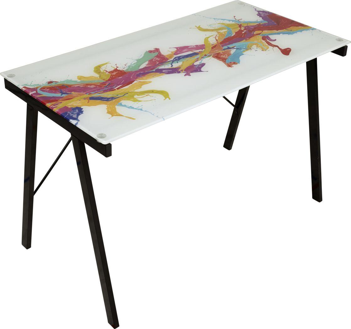 Kids Color Splash White Graphic Desk