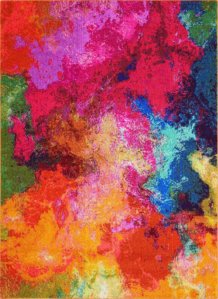 Kids Cosmic Palette Red 3'11 x 5'11 Rug
