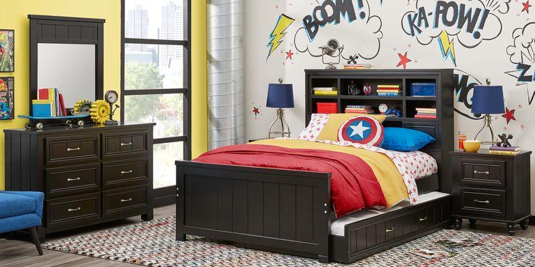 Kids Cottage Colors Black 5 Pc Full Bookcase Bedroom