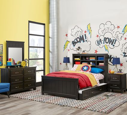 Kids Cottage Colors Black 5 Pc Twin Bookcase Bedroom