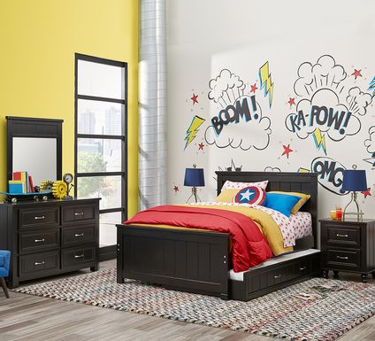 Kids Cottage Colors Black 5 Pc Twin Panel Bedroom