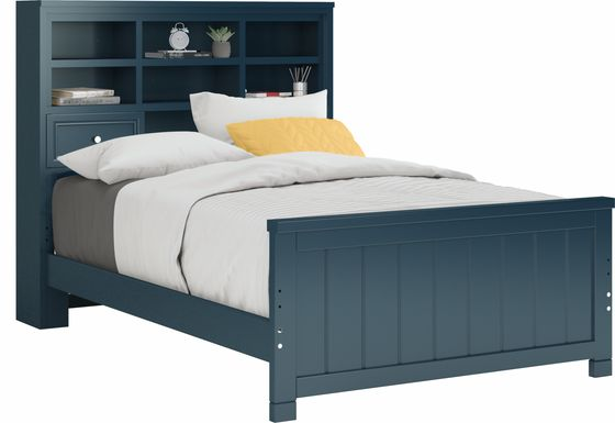 Kids Cottage Colors Blue 3 Pc Full Bookcase Bed