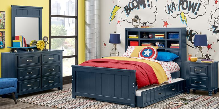 Kids Cottage Colors Blue 5 Pc Twin Bookcase Bedroom