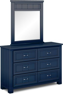 Kids Cottage Colors Blue Dresser & Mirror Set