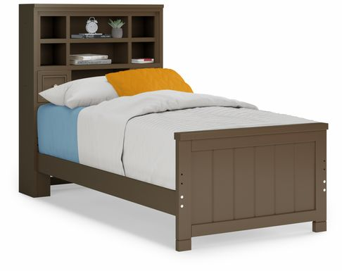 Kids Cottage Colors Chocolate 3 Pc Twin Bookcase Bed