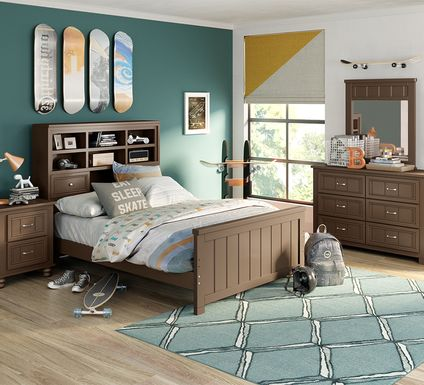 Kids Cottage Colors Chocolate 5 Pc Full Bookcase Bedroom