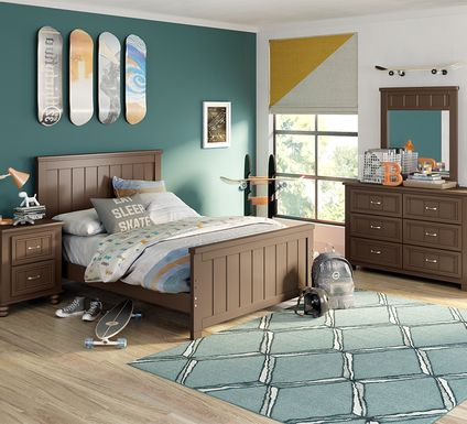 Kids Cottage Colors Chocolate 5 Pc Full Panel Bedroom