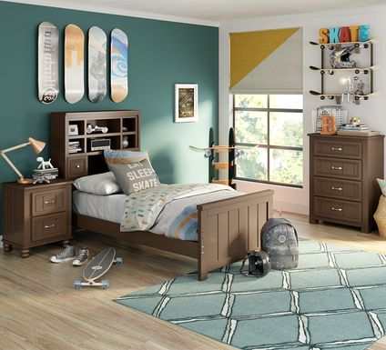 Kids Cottage Colors Chocolate 5 Pc Twin Bookcase Bedroom