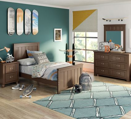 Kids Cottage Colors Chocolate 5 Pc Twin Panel Bedroom