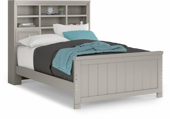 Kids Cottage Colors Gray 3 Pc Full Bookcase Bed