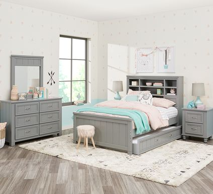 Kids Cottage Colors Gray 5 Pc Full Bookcase Bedroom