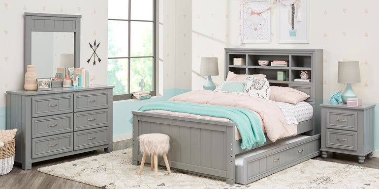 Kids Cottage Colors Gray 5 Pc Twin Bookcase Bedroom
