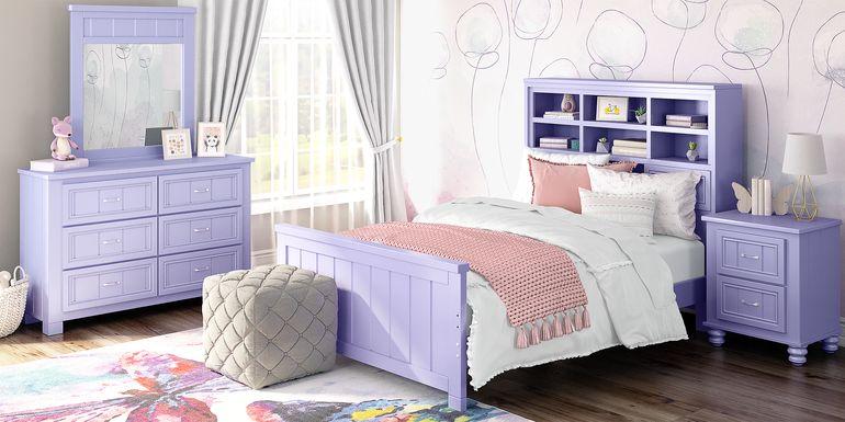 Kids Cottage Colors Lavender 5 Pc Full Bookcase Bedroom