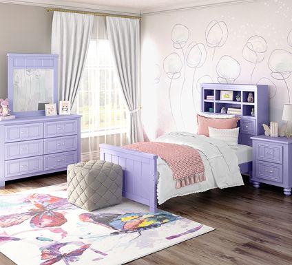 Kids Cottage Colors Lavender 5 Pc Twin Bookcase Bedroom
