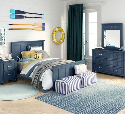 Kids Cottage Colors Navy 5 Pc Full Panel Bedroom