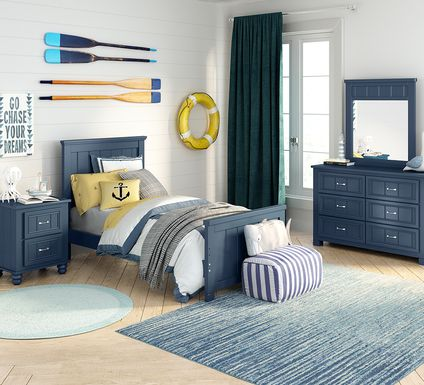 Kids Cottage Colors Navy 5 Pc Twin Panel Bedroom