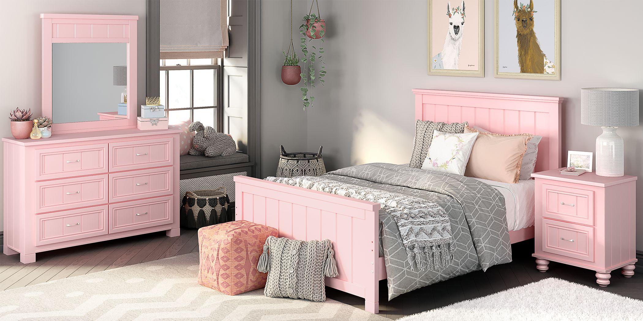 Kids Cottage Colors Pink 5 Pc Full Panel Bedroom