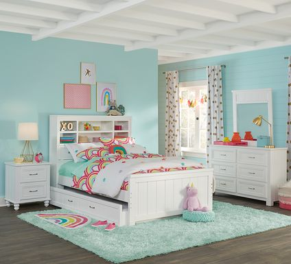 Kids Cottage Colors White 5 Pc Full Bookcase Bedroom