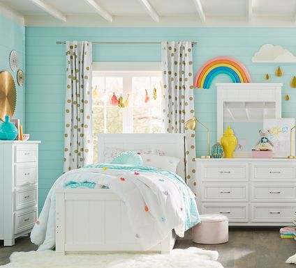 Kids Cottage Colors White 5 Pc Twin Panel Bedroom