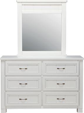 Kids Cottage Colors White Dresser & Mirror Set