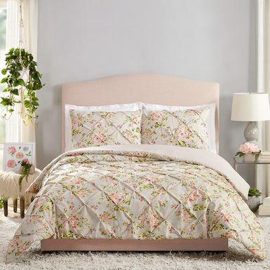 Kids Cottage Roses Gray 3 Pc Full/Queen Comforter Set