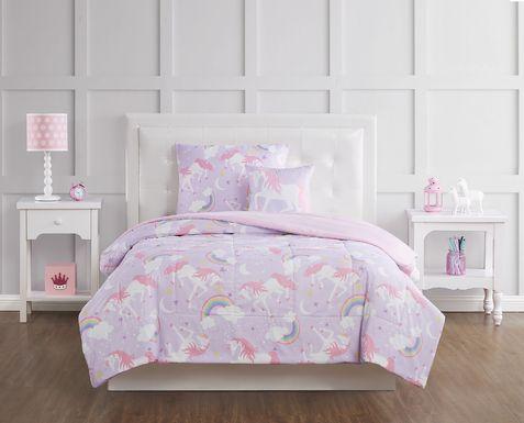 Kids Cotton Candy Unicorn Purple 4 Pc Full Comforter Set