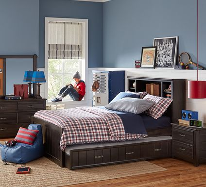 Kids Creekside Charcoal 5 Pc Full Bookcase Bedroom