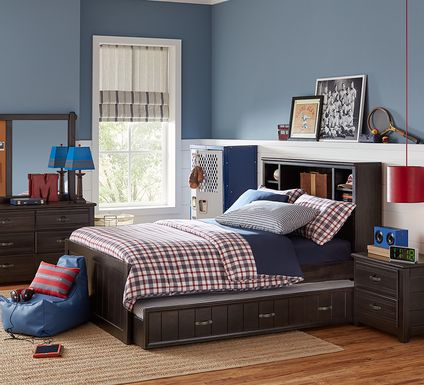 Kids Creekside Charcoal 5 Pc Twin Bookcase Bedroom