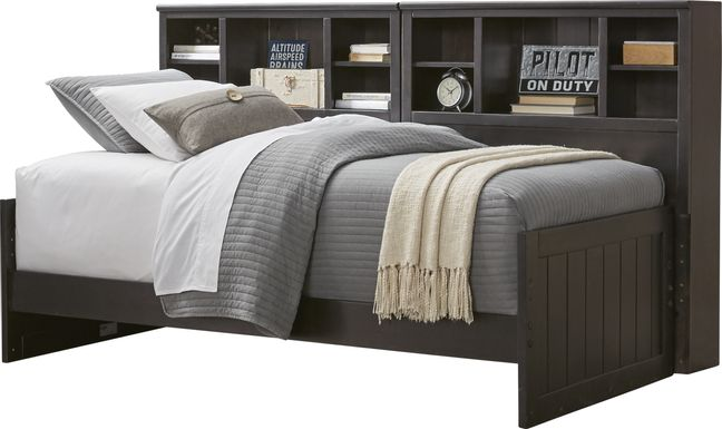 Kids Creekside Charcoal 5 Pc Full Bookcase Wall Bed