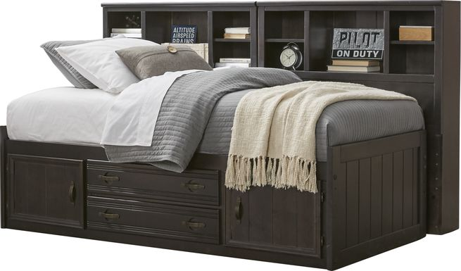Kids Creekside Charcoal 5 Pc Full Captain's Bookcase Wall Bed