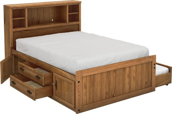 Kids Creekside Chestnut 5 Pc Full Bookcase Bed with Storage & Twin Storage Trundle