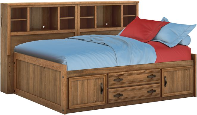 Kids Creekside Chestnut 5 Pc Full Bookcase Wall Bed
