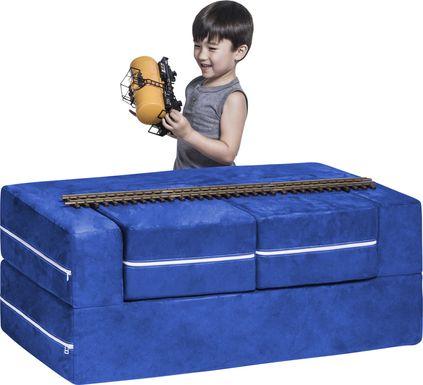 Kids Cubblie Blue Convertible Loveseat and Ottoman
