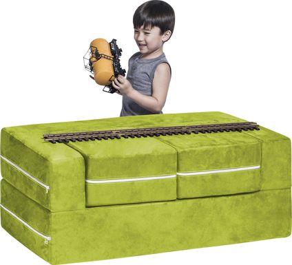 Kids Cubblie Green Convertible Loveseat and Ottoman