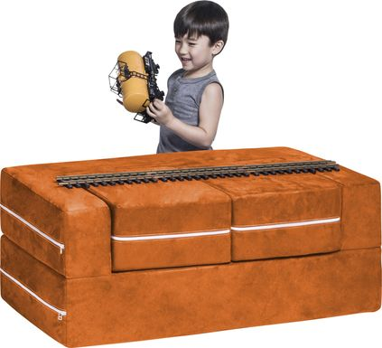 Kids Cubblie Orange Convertible Loveseat and Ottoman