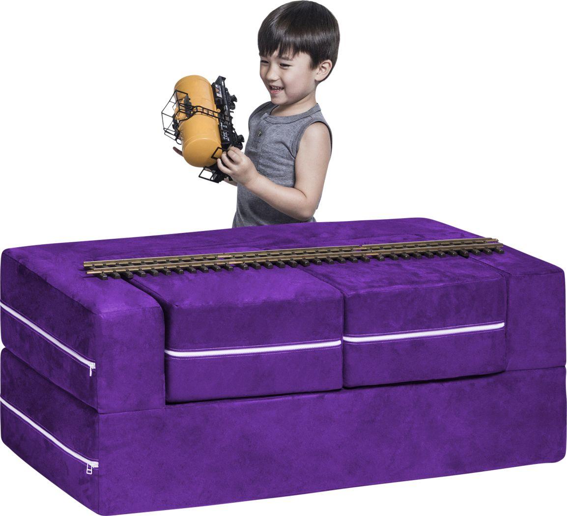 Kids Cubblie Purple Convertible Loveseat and Ottoman