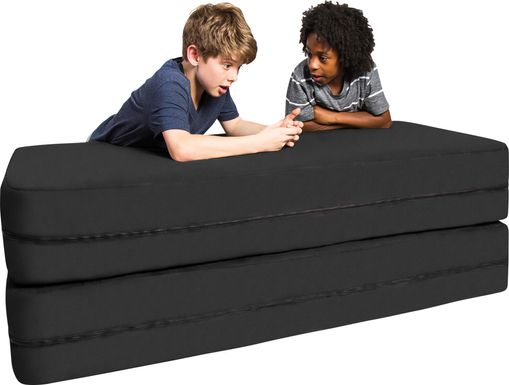 Kids Cubex Black Convertible Sofa and Ottoman