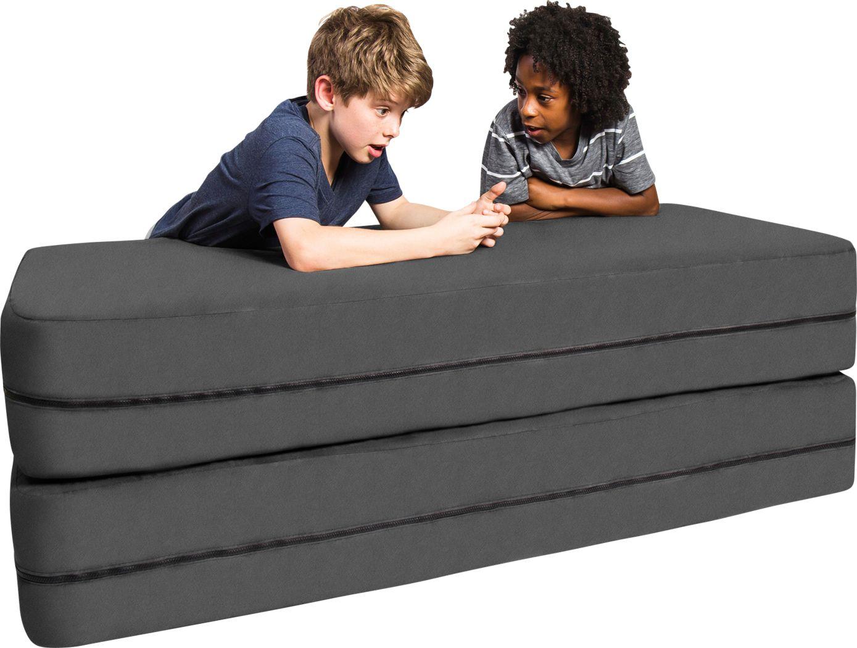 Kids Cubex Gray Convertible Sofa and Ottoman