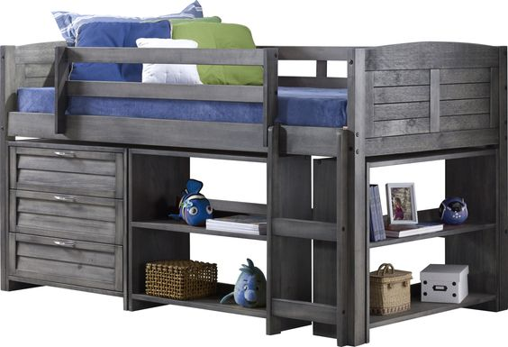 Kids Daintree Gray Twin Jr. Loft Bed with Bookcases