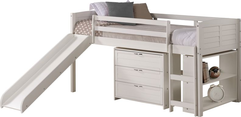 Kids Daintree White Twin Jr. Loft Bed with Drawers and Slide