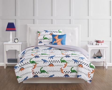 Kids Dino Venture White 4 Pc Full Quilt Set