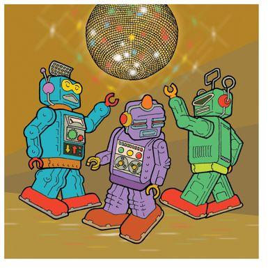 Kids Disco Robots Brown Artwork