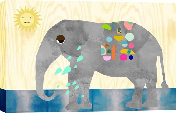 Kids Elephant Bath Gray Artwork